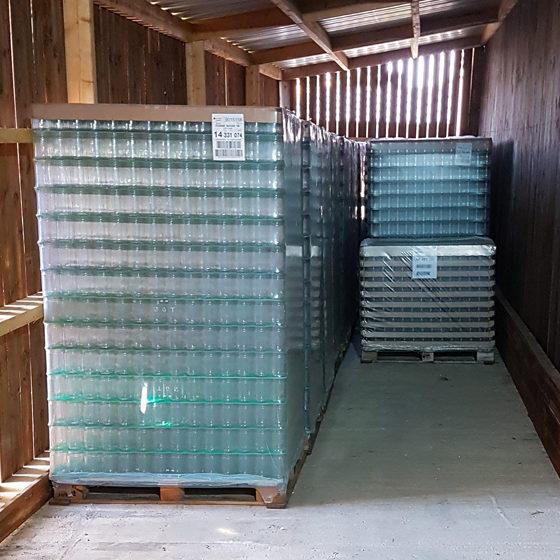 Stock des emballages (pots, bouteilles...)